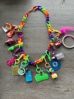 Vintage New 80's Plastic Bell Charm Necklace Retro Radio Baby Bottle 1980 Clip
