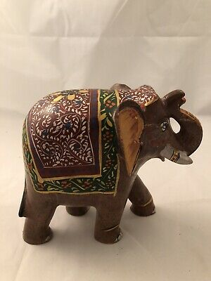 Handpainted Indian Stone elephant With Trunk Up For Good Luck
