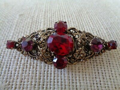 Beautiful Filigree Ruby Red Purple Pronged Rhinestone Bar Pin Brooch