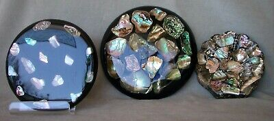 kitchen bling 3 vintage lucite trivets w/Chunky Abalone Shells Handmade,USA