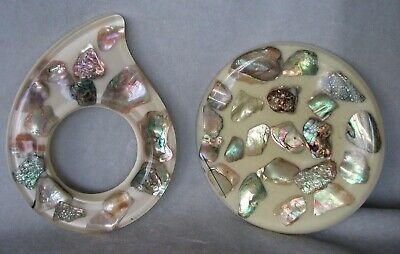 kitchen bling 2 vintage lucite trivets w/Chunky Abalone Shells Handmade,USA