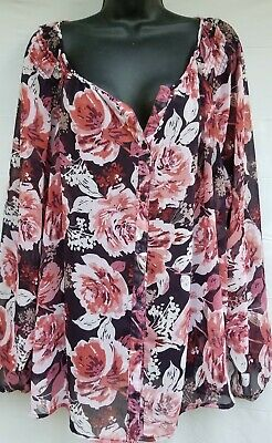 Croft& Barrow Womens Plus Summer Top, Long Sleeves, Sheer, Floral  Size 3X