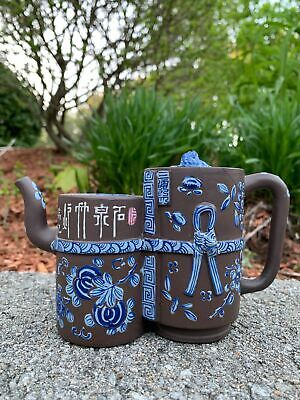 Chinese Qing Period Yixing Enamel Zisha Antique Teapot Signed