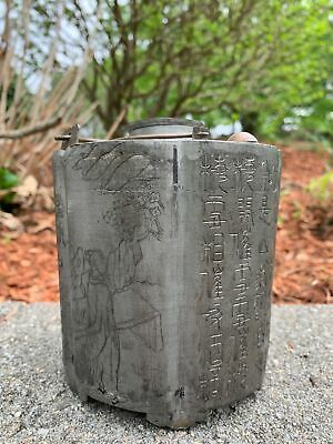 Nice Chinese Republic Period Hand Carved Pewter Antique Teapot Warmer