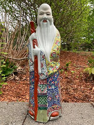Tall Famille Rose Chinese Porcelain Antique Shou Lou Figurine
