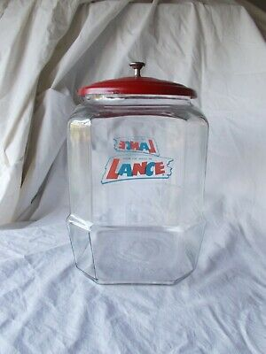 """Vintage 10"""" Lance Cookie Cracker Clear Glass Jar W Red Metal Lid candy Counter"""