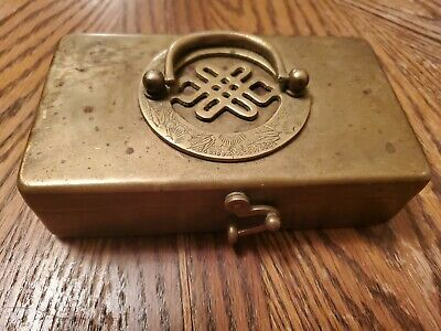 Art Deco  Brass Reticulating Hinged Trinket Dresser Pill Box Etched Daisy