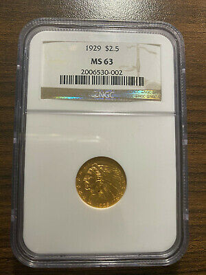 1929-P $2.50 Gold Indian Head 2 1/2 Dollar Gold Quarter Eagle NGC MS 63 RARE