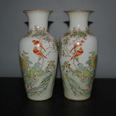 A Pair Fine China Famille Rose Porcelain Flowers Bird Vase