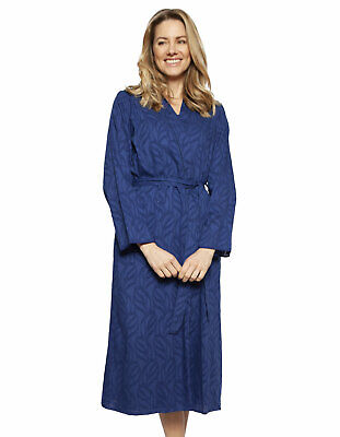 Cyberjammies 1324 Nora Rose Thea Navy Blue Cotton Long Robe 4