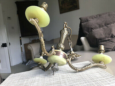 French Style Vintage Ornate 3 Arm Onyx Effect & Brass Chandelier