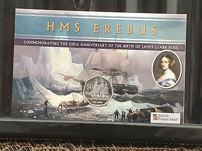 HMS Erebus - 2020 Uncirculated Cupro Nickel Diamond Finish 50p ISSUE LIMIT 2750#