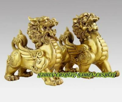 10cm Pure Brass talisman Fengshui Evil Door Fu Foo Dog Lion beast kylin Pair