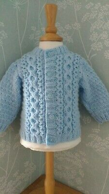 New: Hand Knitted Baby Boy Blue Cardigan Aran Style 0-6 mths