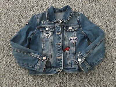 Girls Totally Amazing Destressed Denim Jacket Age 7-8 Years With Designs