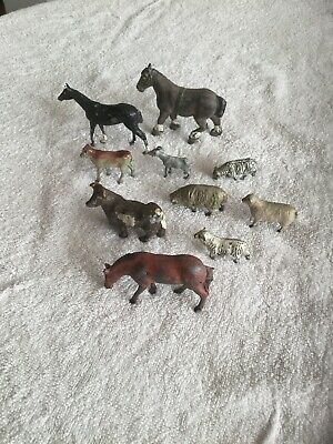vintage lead farm animals X 10