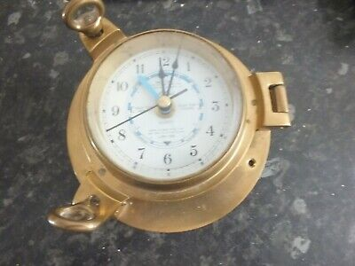 brass port hole style tide clock  fully working