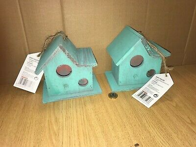 Wholesale Job Lot 48 X Brand New Turquoise Wooden Bird Boxes