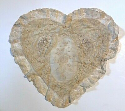Antique vintage heart shape pillow cover Victorian lace and embroidery