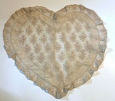 Vintage antique Victorian pillow case, heart shape lace and embroidery