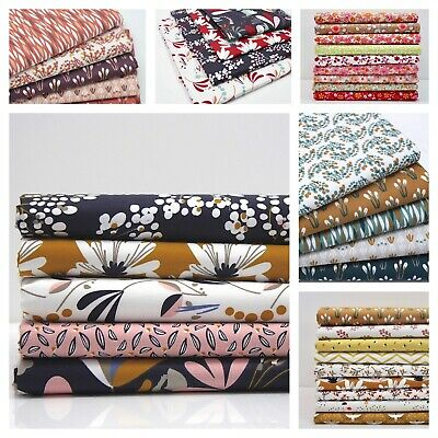 FAT QUARTER BUNDLE FLORAL 100% COTTON Quilting OEKO-TEX FQ Fabric Leaves Flowery