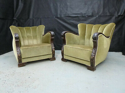 EB622 Pair of Carved Stained Beech & Velour Lounge Chairs Vintage Danish Retro