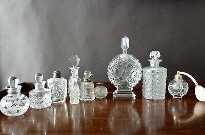 Vintage and Antique Clear Glass Perfume Bottles x10