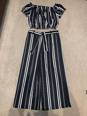Newlook 915 Girls Crop Top & Culottes Outfit Black White Cold Shoulder 10-11 Yrs