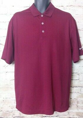 Nike Golf Polo Shirt Mens Large Short Sleeve Maroon Red Collared