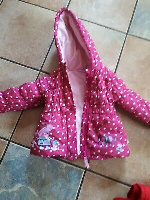 GIRLS PEPPA PIG COAT - 18-24 months PADDED WITH FLEECE LINING WITH HOOD
