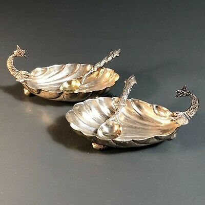 Antique Vintage Sterling Silver Salt Cellars and Spoons Egyptian Sea Shells Fish