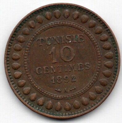 Tunisia 10 Centimes 1892 A Coin
