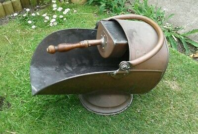 Antique Large Copper Coal Scuttle and scoop  Log Bucket