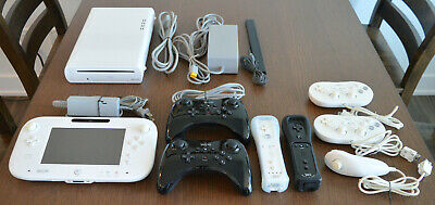 Nintendo Wii U 8GB White System with Gamepad, Pro Controllers, Wii Remotes, More