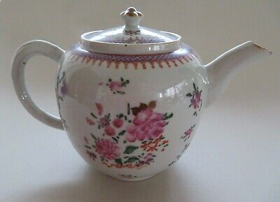 Antique Chinese Export Famille Rose Teapot 18Th Century Qianlong ---- No Reserve