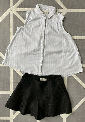 Girls Summer Clothes Outfit Grey Shorts White Vest Top 5-6 Years Bundle ZARA