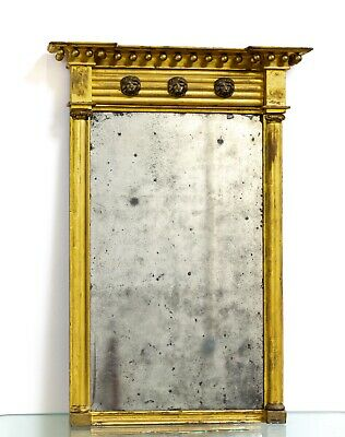 Antique English Country House Late 18th Century George III Gilt Wood Pier Mirror