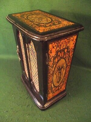 'Curiosity Cabinet' Gothic Black Ebonized with Squid Detail Vintage Wooden Box