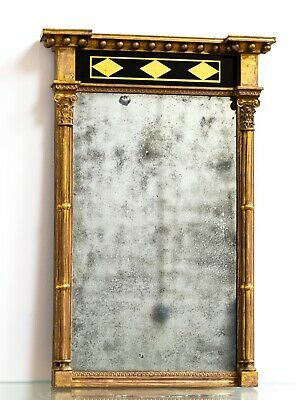 Antique English Country House Early 19th Century Gilt Wood Pier Mirror