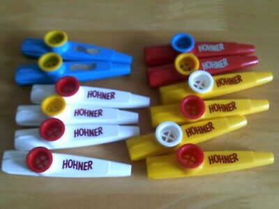 Set of 12 x HOHNER Kazoo's - Fun Music Makers! 4 Different Colours. Made In USA.