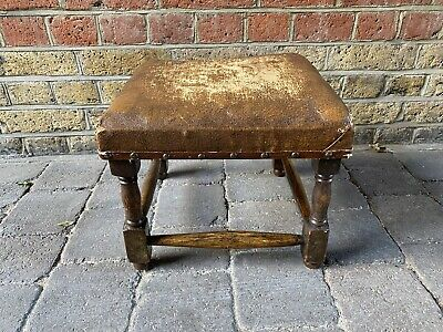 Antique Victorian Wood & Leather Footstool