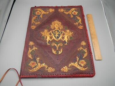 Vintage Old Italian Leather Embossed Large Book Cover Coat Of Arms