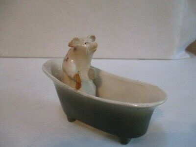 Antique / Vintage Ceramic Pig in Bath Tub Figurine - Made in Germany?