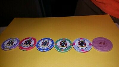 6 Casino Chips. Duke's Card Club, Fresno, CA.