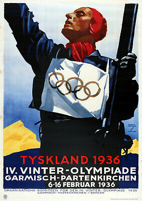 Olympic Poster -  Germany / Winter / 1936 - Vintage Reprint A4 Wall Art