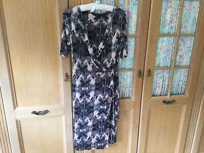 M&S AUTOGRAPH Dress Size 16 In Black/Grey/Pink PRINT Worn Once So Exc Condition