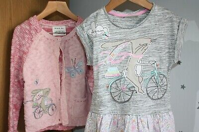 Next Baby Girls Outfits Set Tunic /Dress & Bunny sweater 3-4 years