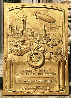 Vintage GOODYEAR Blimp Scene 20 Years Hefley Stedman Relations Iron Metal Plaque