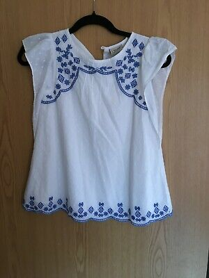 Next Girls Embroidered White Summer Top Age 8