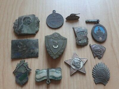 Job Lot Of Antique Collectables Badges And Medals.